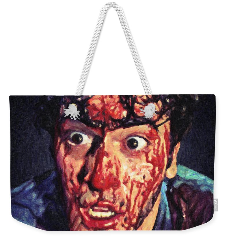 Ash Williams Weekender Tote Bag featuring the painting Ash Williams by Zapista Zapista