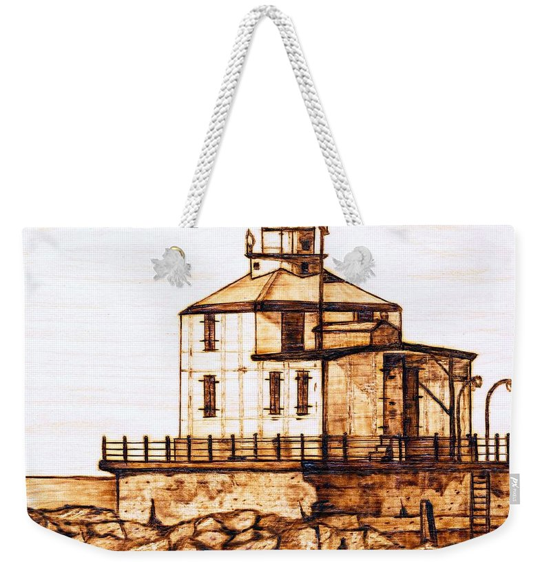 Lighthouse Weekender Tote Bag featuring the pyrography Ashtabula Harbor by Danette Smith