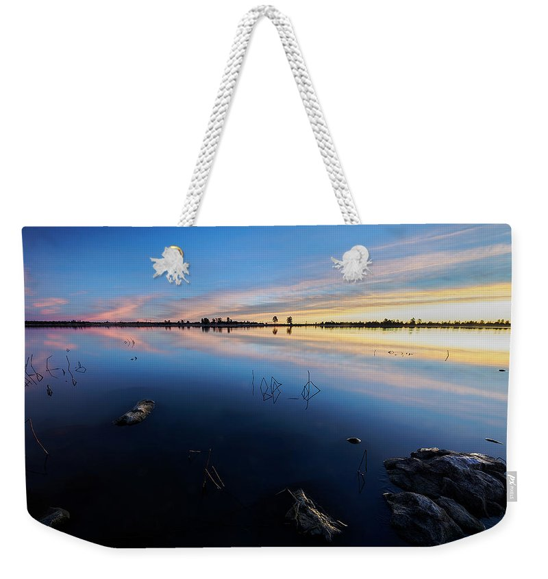 Jon Evan Glaser Weekender Tote Bag featuring the photograph Ashurst Lake Sunrise by Jon Glaser