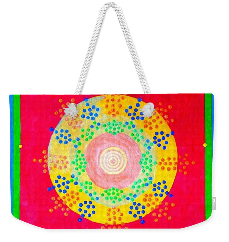 Abstract Weekender Tote Bag featuring the painting Asia Sun by Thomas Gronowski