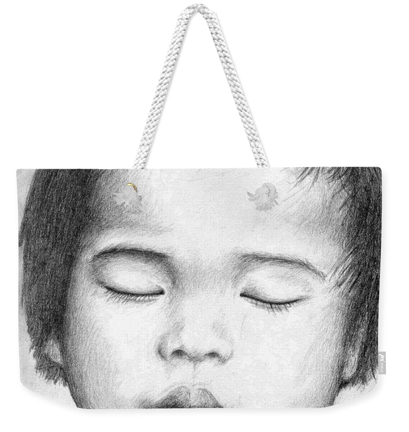Baby Weekender Tote Bag featuring the drawing Asian Baby by Nicole Zeug
