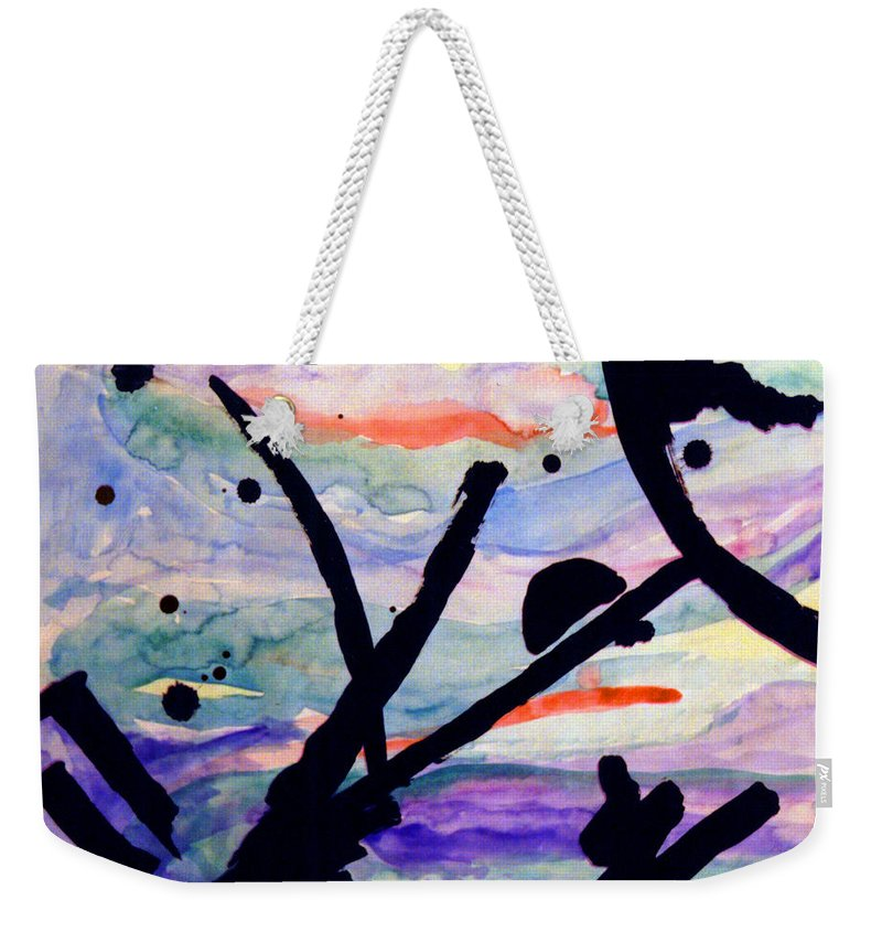 Abstract Weekender Tote Bag featuring the painting Asian Impression by Steve Karol
