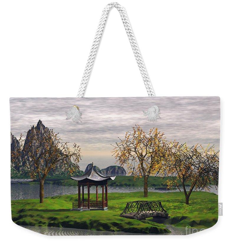 Landscape Weekender Tote Bag featuring the digital art Asian Landscape by John Junek