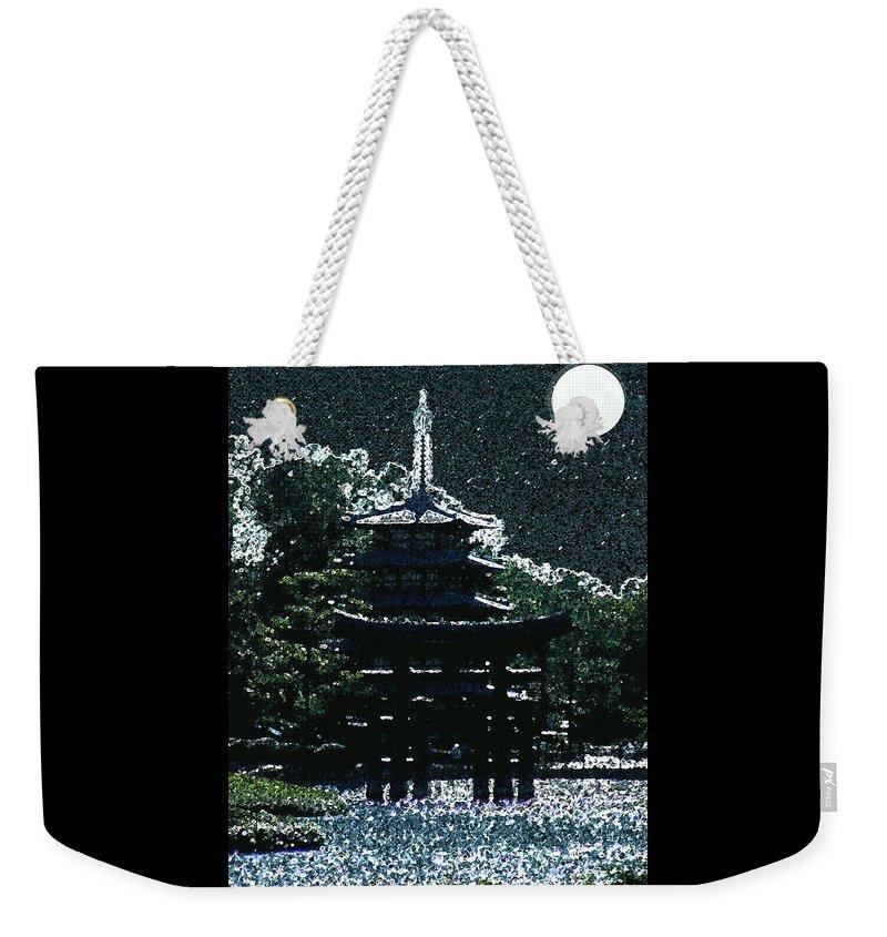 Full Moon Weekender Tote Bag featuring the mixed media Asian Moon by Shirley Heyn