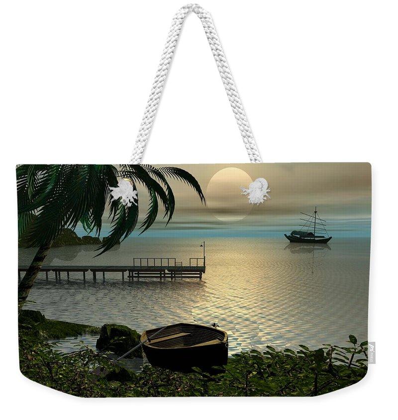 Landscape Weekender Tote Bag featuring the digital art Asian Sunset Scene by John Junek