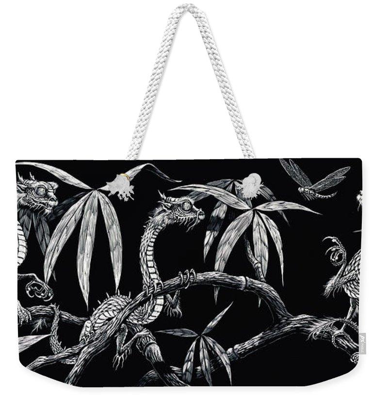 Fantasy Weekender Tote Bag featuring the drawing Asian Wonders by Stanley Morrison