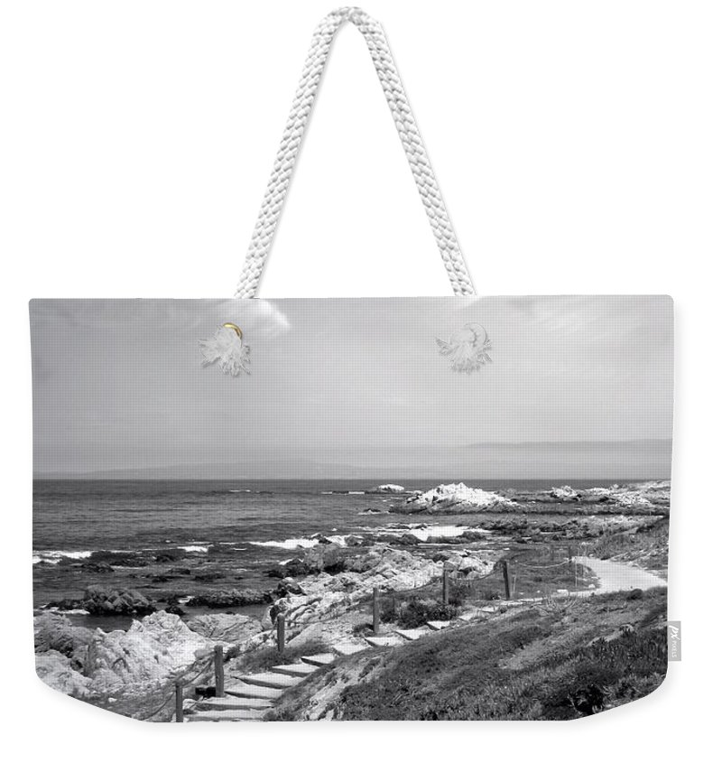 B&w Weekender Tote Bag featuring the photograph Asilomar Beach Stairway In Black And White by Joyce Dickens