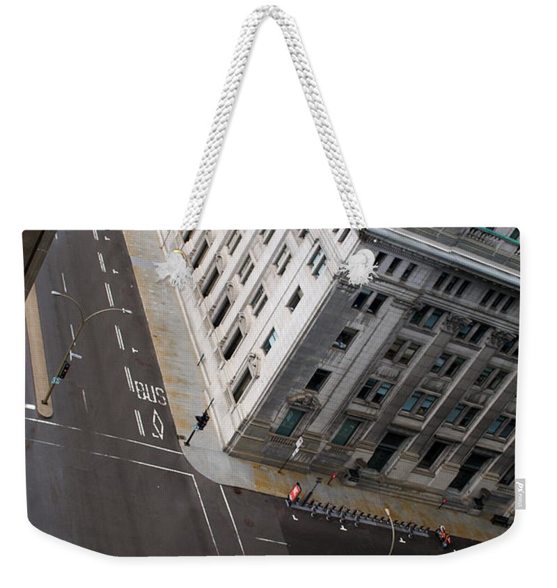 Askew Weekender Tote Bag featuring the photograph Askew View by Lisa Knechtel