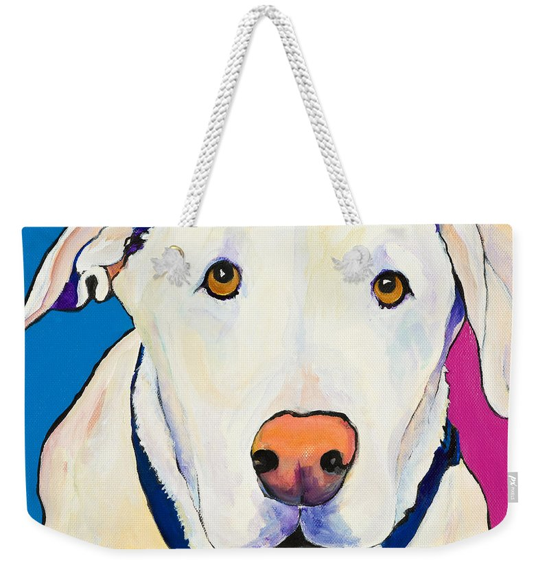 White Lab Yellow Lab Animal Paintings Golden Eyes Square Format Dogs Pets Rescued Weekender Tote Bag featuring the painting Aslinn by Pat Saunders-White