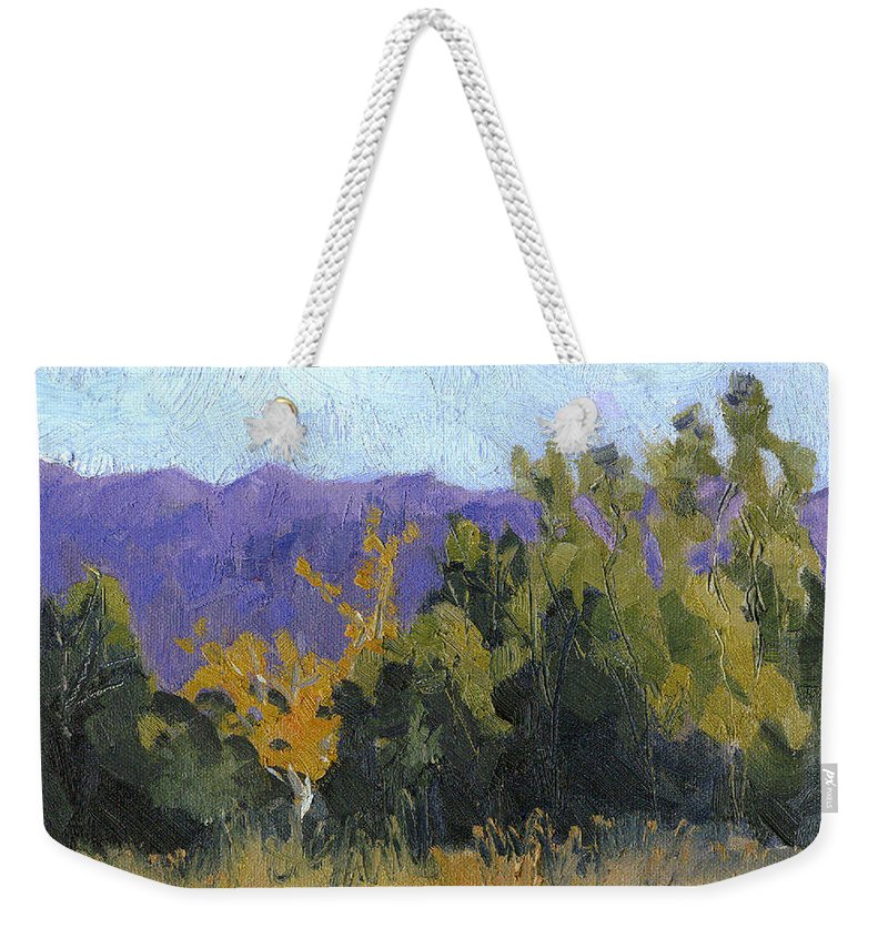 Fall Color Weekender Tote Bag featuring the painting Aspen Color by Cindy Carrillo