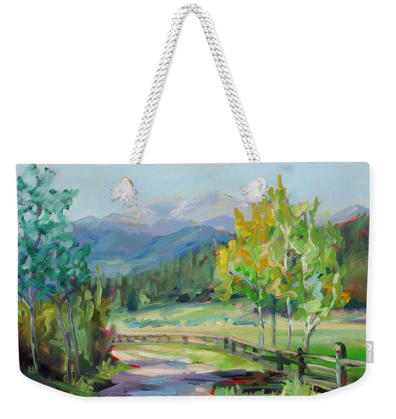 Rocky Mountains Weekender Tote Bag featuring the painting Aspen Lane by Marie Massey