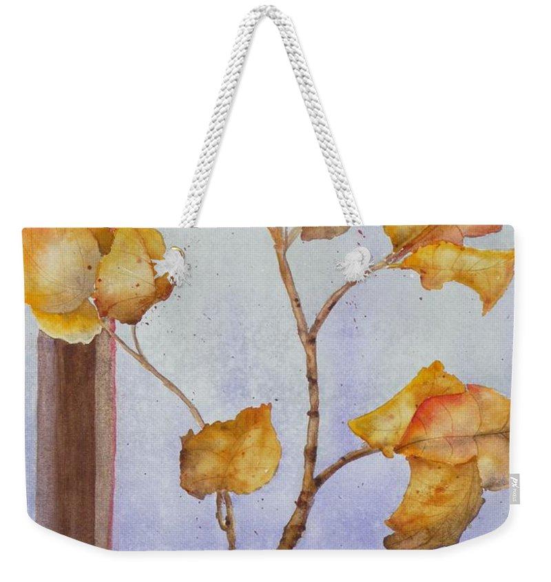 Leaves Weekender Tote Bag featuring the painting Aspen by Ruth Kamenev