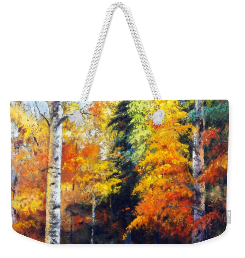 Aspen Trees. Weekender Tote Bag featuring the painting Aspens In Fall. by John Gabb