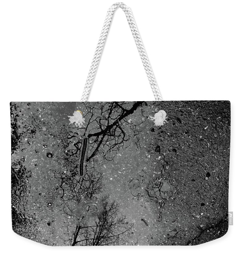 Abstract Weekender Tote Bag featuring the photograph Asphalt-water-tree Abstract Refection 03 by Jor Cop Images