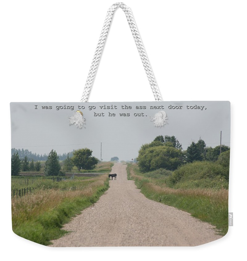 Jack Ass Donkey Road Trees Farm Ranch Mule Grass Prairie Saskatchewan Weekender Tote Bag featuring the photograph Ass Next Door by Andrea Lawrence