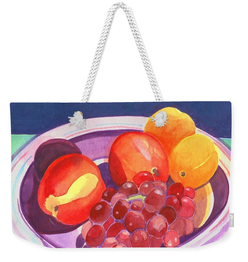 Grape Weekender Tote Bag featuring the painting Assorted Fruit by Helena Tiainen