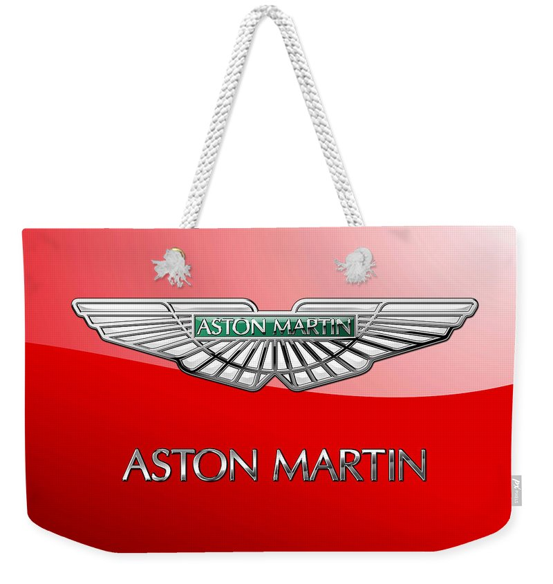 Wheels Of Fortune� Collection By Serge Averbukh Weekender Tote Bag featuring the photograph Aston Martin - 3 D Badge on Red by Serge Averbukh