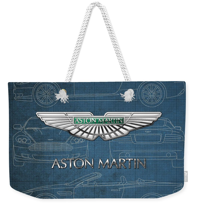 Wheels Of Fortune By Serge Averbukh Weekender Tote Bag featuring the photograph Aston Martin 3 D Badge over Aston Martin D B 9 Blueprint by Serge Averbukh