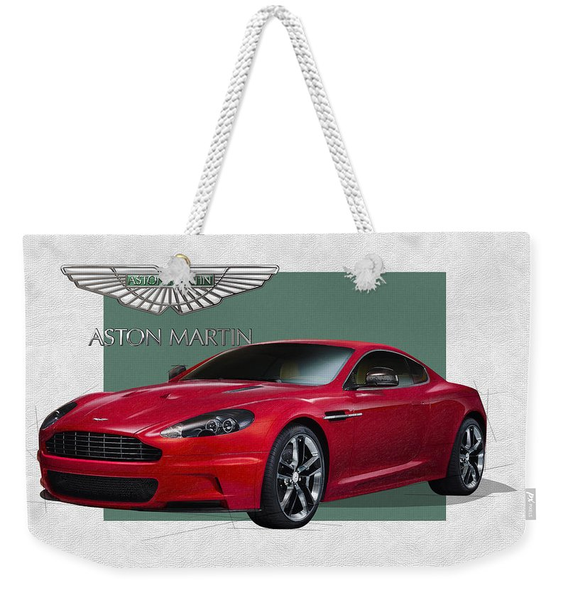 �aston Martin� By Serge Averbukh Weekender Tote Bag featuring the photograph Aston Martin D B S V 12 with 3 D Badge by Serge Averbukh
