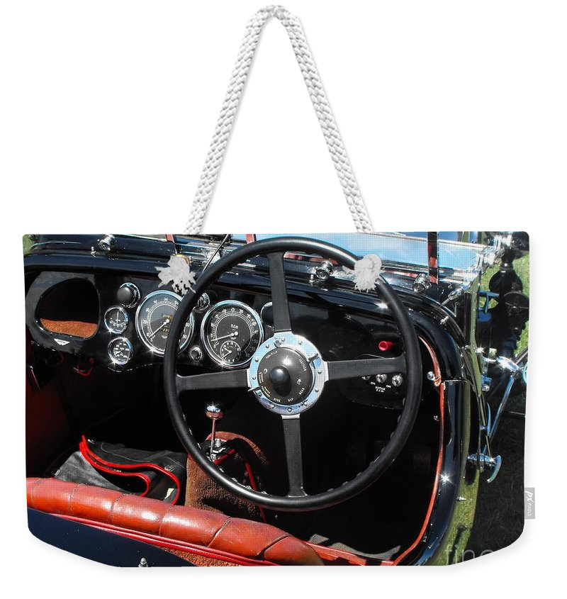 Aston Martin Weekender Tote Bag featuring the photograph Aston Martin Dashboard by Neil Zimmerman
