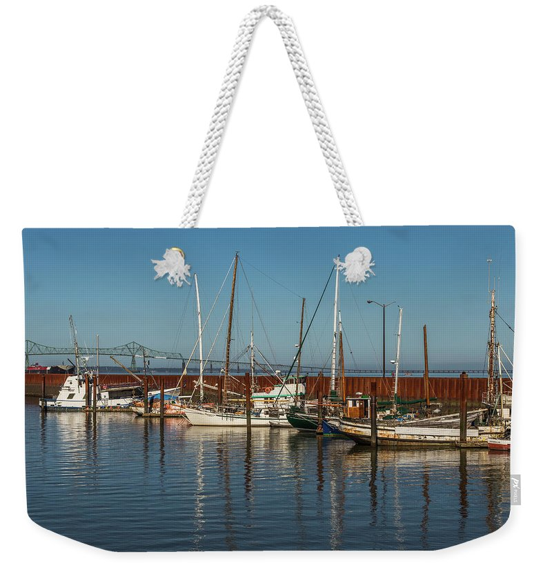 Astoria Weekender Tote Bag featuring the photograph Astoria Marina by Calazone's Flics