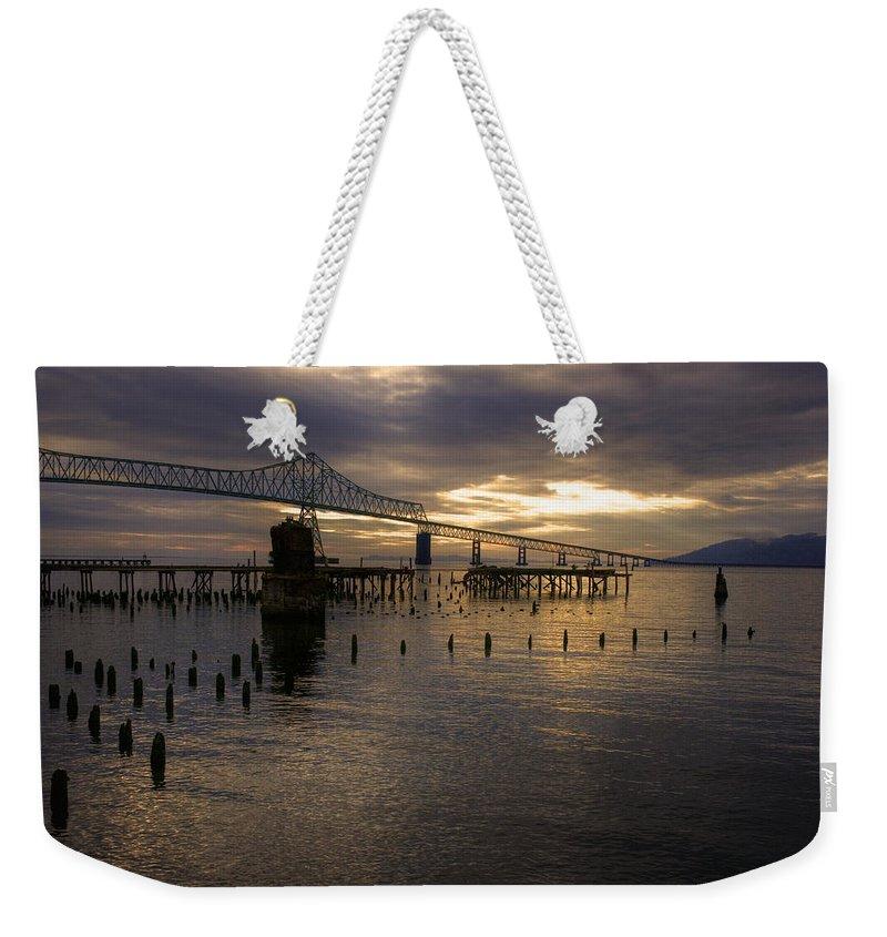 Landscape Weekender Tote Bag featuring the photograph Astoria-megler Bridge 2 by Lee Santa
