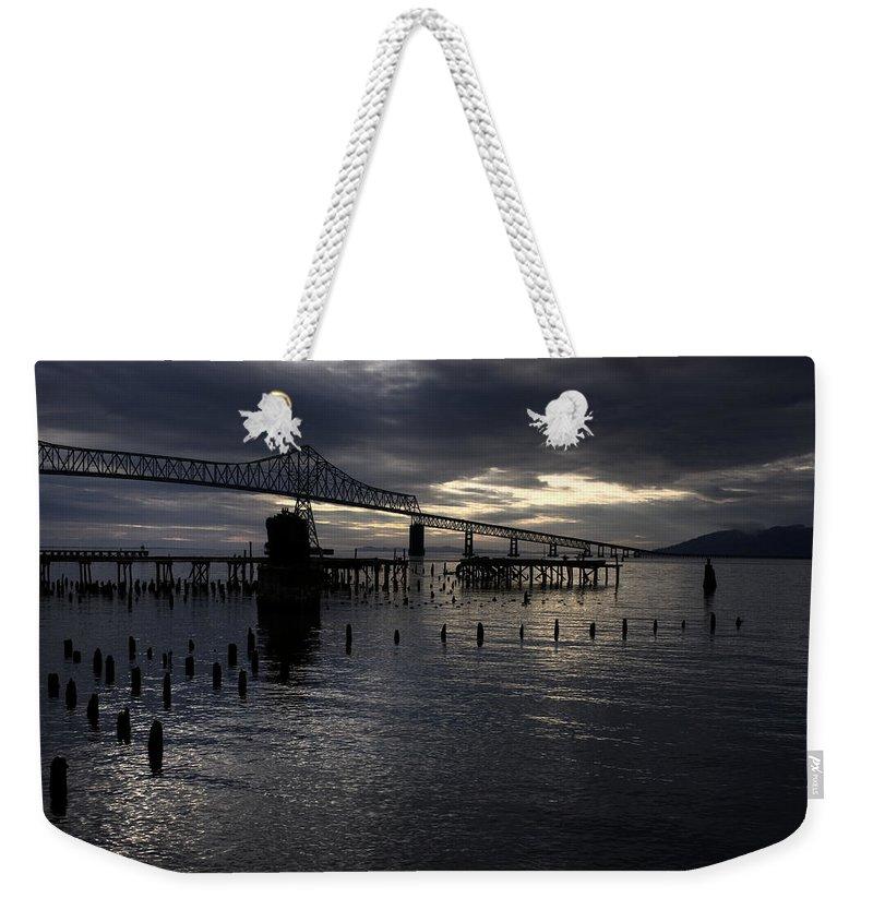 Landscape Weekender Tote Bag featuring the photograph Astoria-megler Bridge by Lee Santa
