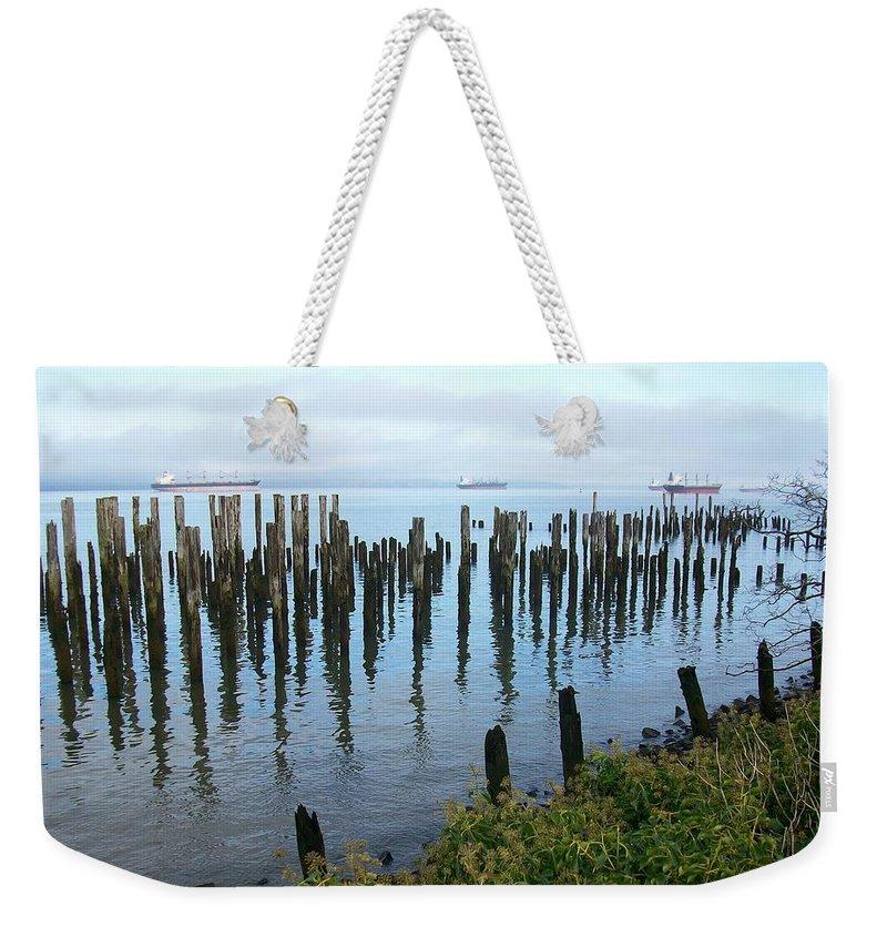 Nature Weekender Tote Bag featuring the photograph Astoria Ships by Quin Sweetman