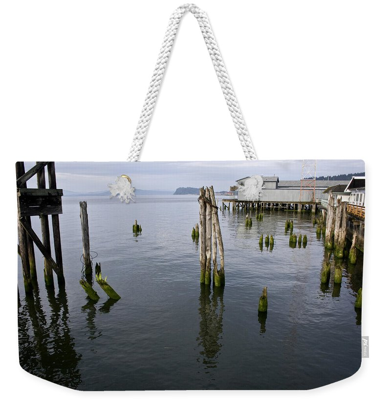Scenic Weekender Tote Bag featuring the photograph Astoria Waterfront by Lee Santa