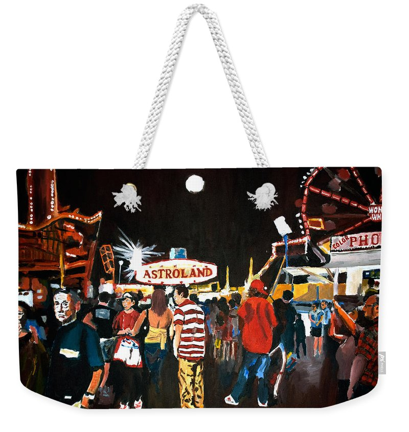 Coney Island Weekender Tote Bag featuring the painting Astroland by Wayne Pearce