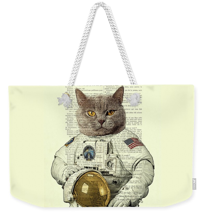 Astronaut Weekender Tote Bag featuring the digital art Astronaut Cat Illustration by Madame Memento