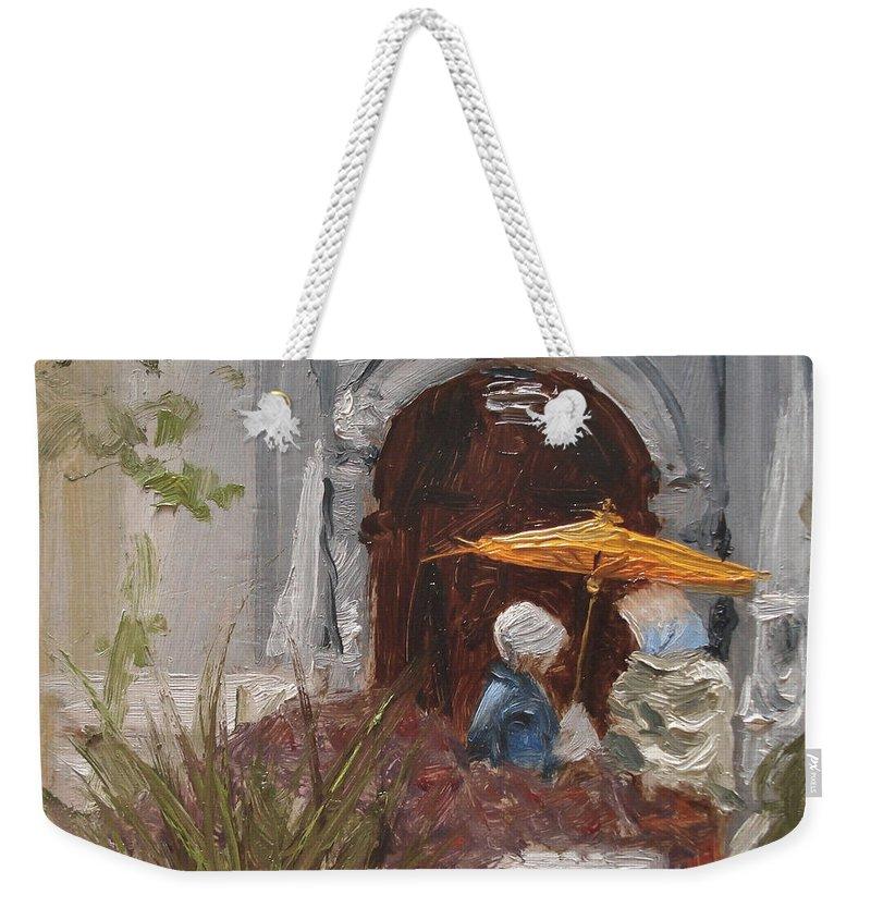 Parks Weekender Tote Bag featuring the painting At Balboa Park by Barbara Andolsek