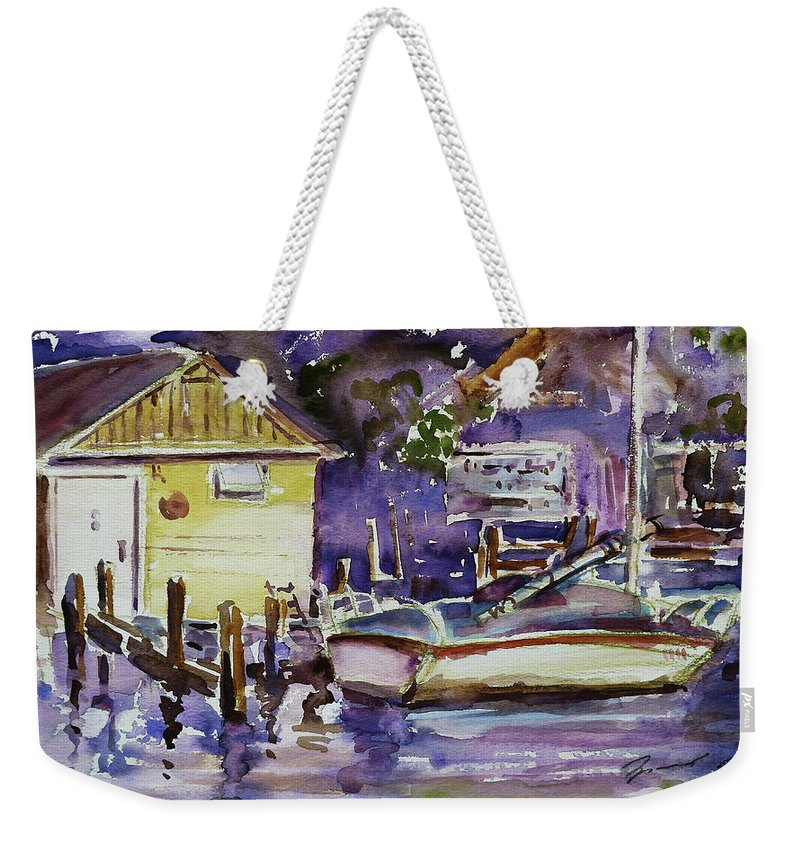 Boathouse Weekender Tote Bag featuring the painting At Boat House 3 by Xueling Zou