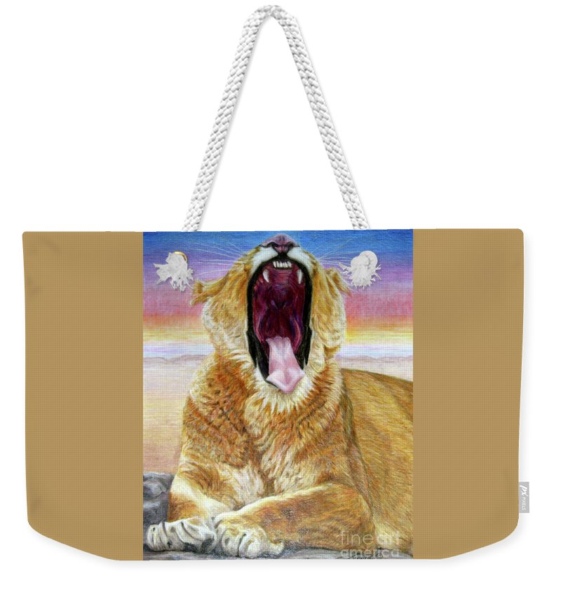 Wildlife Weekender Tote Bag featuring the drawing At Days End by Beverly Fuqua