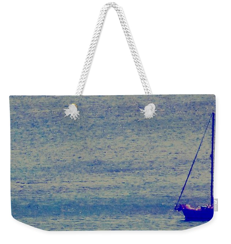 Boat Weekender Tote Bag featuring the photograph At Evening Anchor by Ian MacDonald