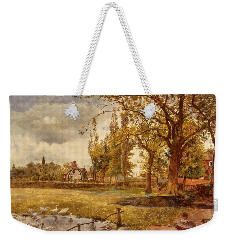 Painting Weekender Tote Bag featuring the painting At Hale Lancanshire by Mountain Dreams