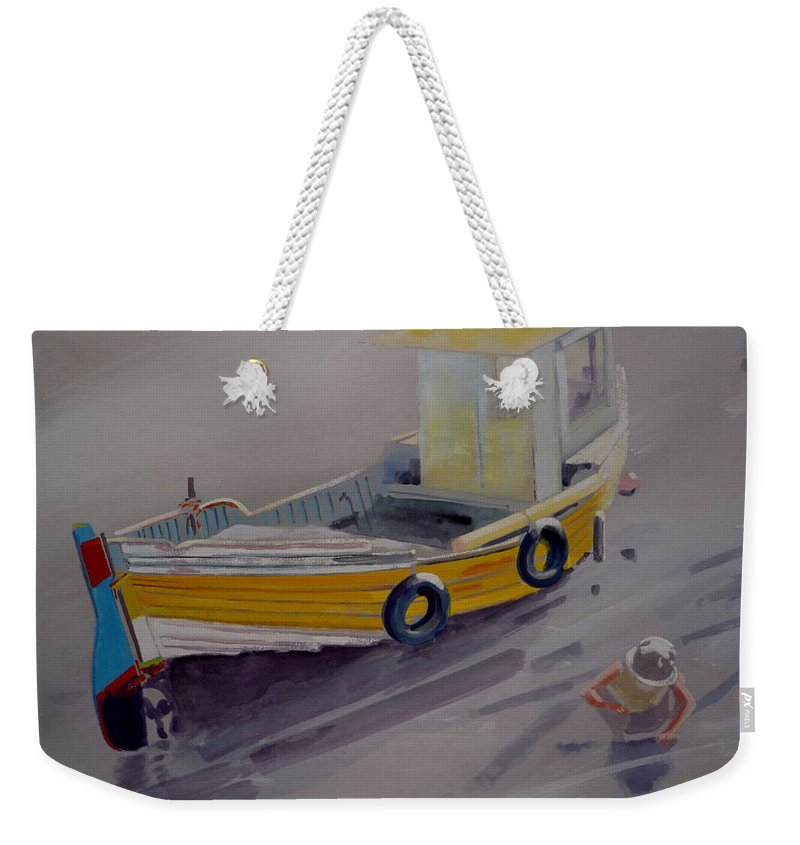 Seascape Weekender Tote Bag featuring the painting At Low Tide by Charles Stuart