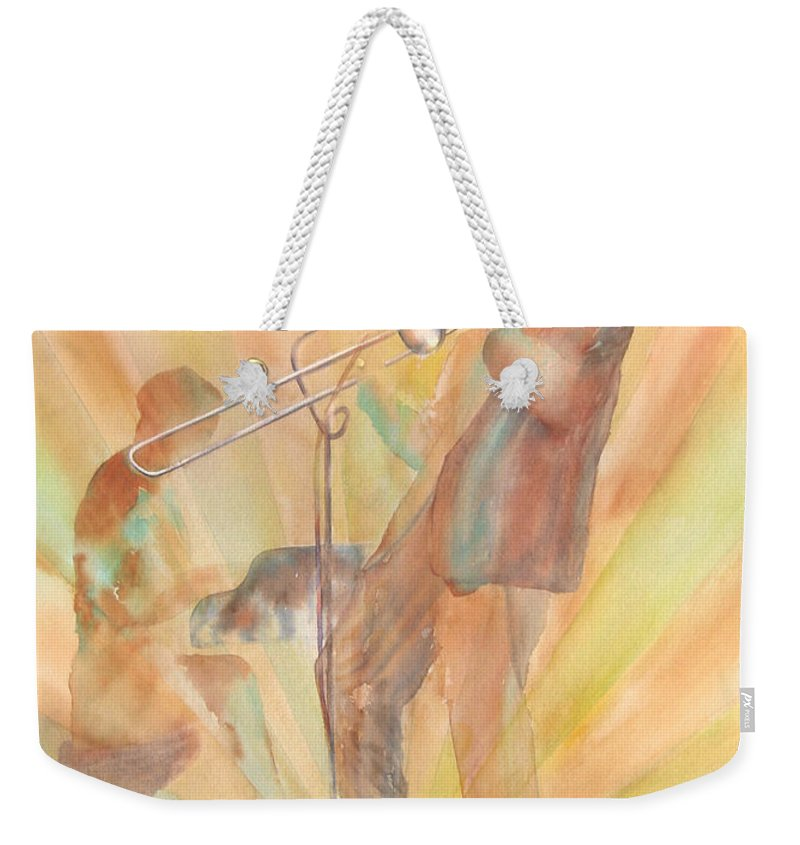 Watercolor Weekender Tote Bag featuring the painting At One With The Music by Debbie Lewis