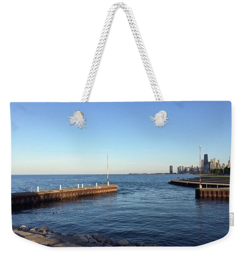Cityscape Weekender Tote Bag featuring the photograph At Sunset by Margaret Fronimos