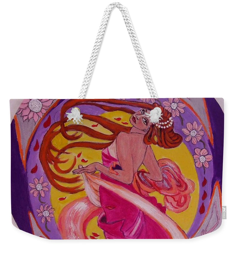 Art Nouveau Weekender Tote Bag featuring the painting At The Ball by Rusty Gladdish