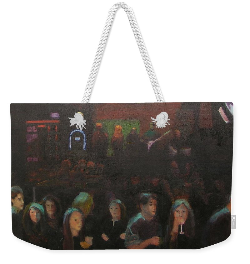 Tavern Weekender Tote Bag featuring the painting At The Bar by Gail Eisenfeld