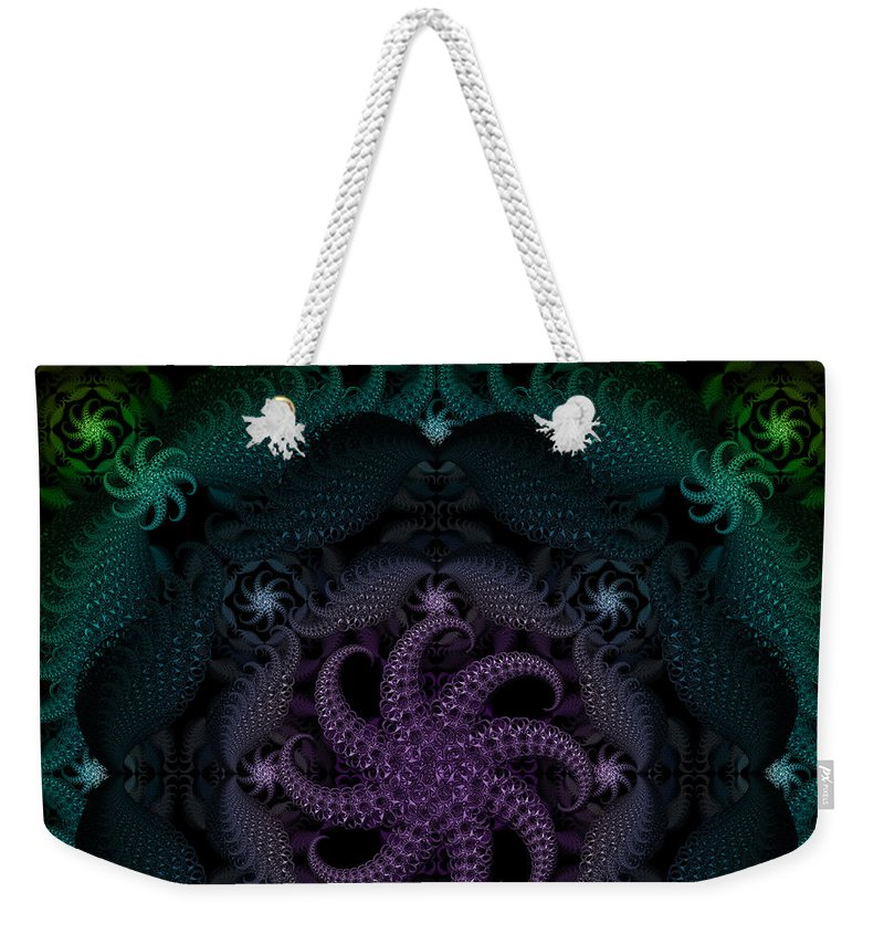 Ring Pulls Weekender Tote Bag featuring the digital art At The Bottom Of The Sea Are Peridots by Deborah Runham