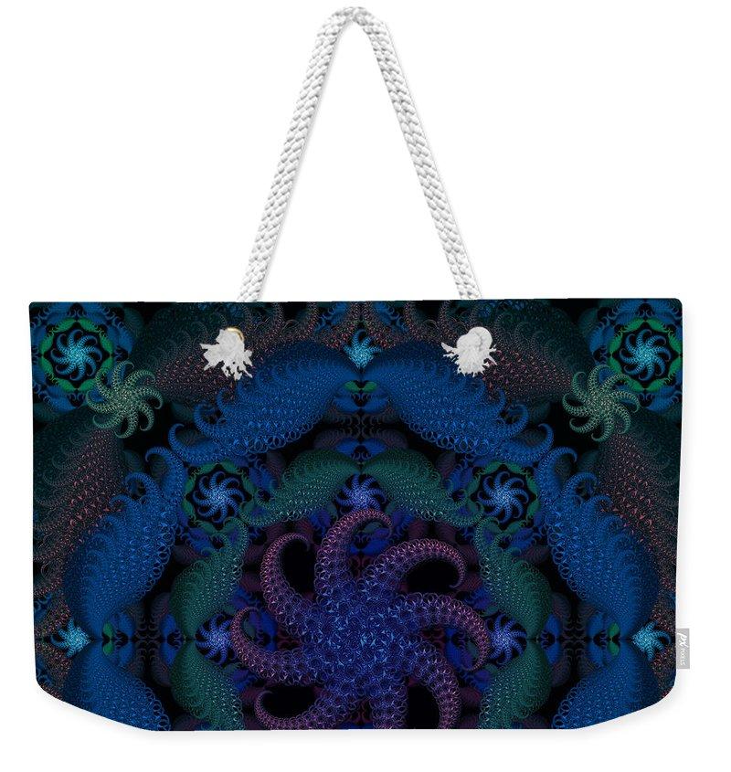 Ultramarine Weekender Tote Bag featuring the digital art At The Bottom Of The Sea by Deborah Runham