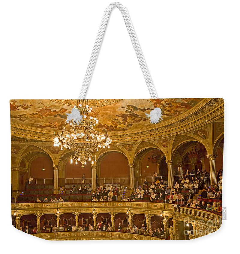 Budapest Opera Weekender Tote Bag featuring the photograph At The Budapest Opera by Madeline Ellis