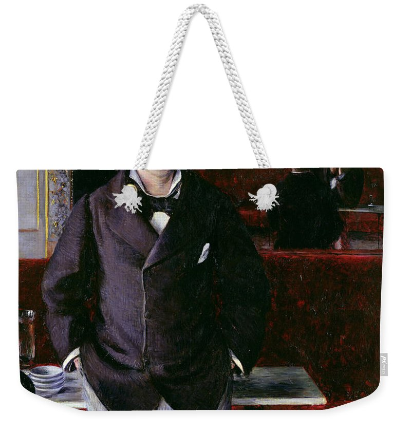 At The Cafe Weekender Tote Bag featuring the painting At The Cafe Rouen by Gustave Caillebotte