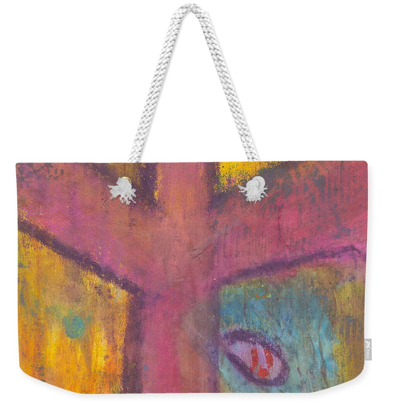 Cross Weekender Tote Bag featuring the mixed media At The Cross by Angela L Walker