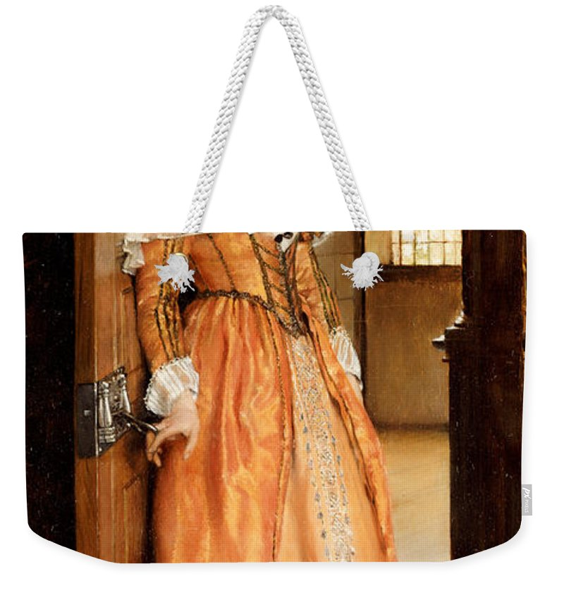 At The Doorway Weekender Tote Bag featuring the painting At The Doorway by Laura Theresa Alma-Tadema
