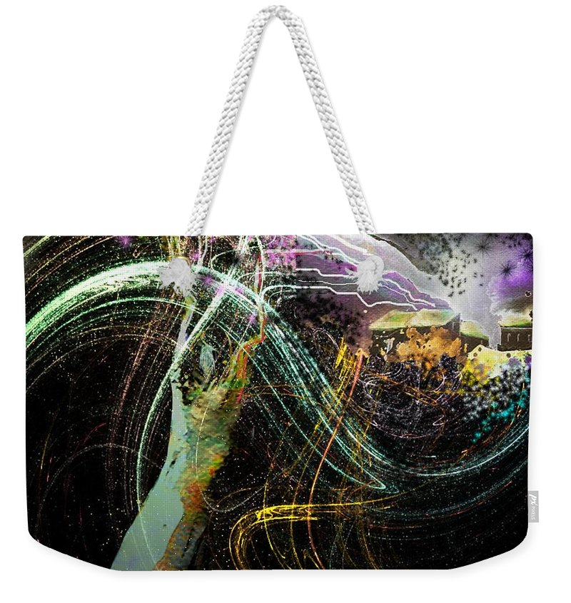 Fantasy Weekender Tote Bag featuring the painting At The End Of The Cosmos by Miki De Goodaboom