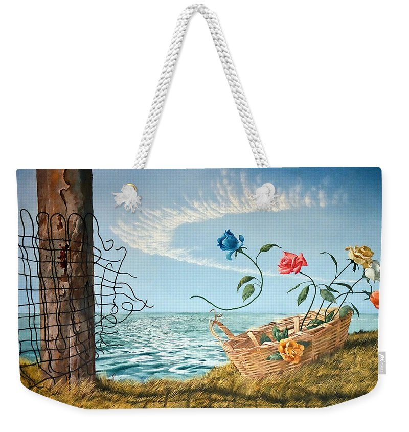 Flower Weekender Tote Bag featuring the painting At The End Of The Fence I Am Free by Christopher Shellhammer