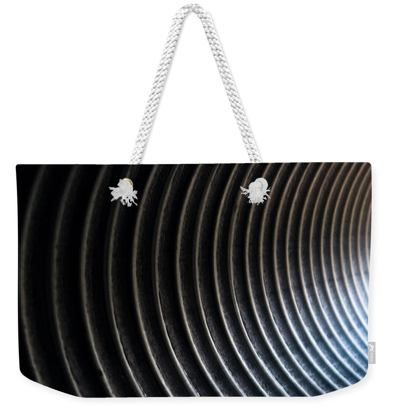 Black And White Weekender Tote Bag featuring the photograph At The End Of The Tunnel by Hannah Breidenbach